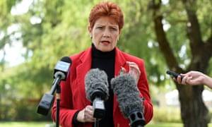 Pauline Hanson at a press conference