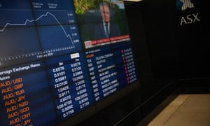 The market boards at the Australian Stock Exchange