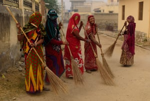 Early morning street sweepers in Mandawa, Rajasthan.