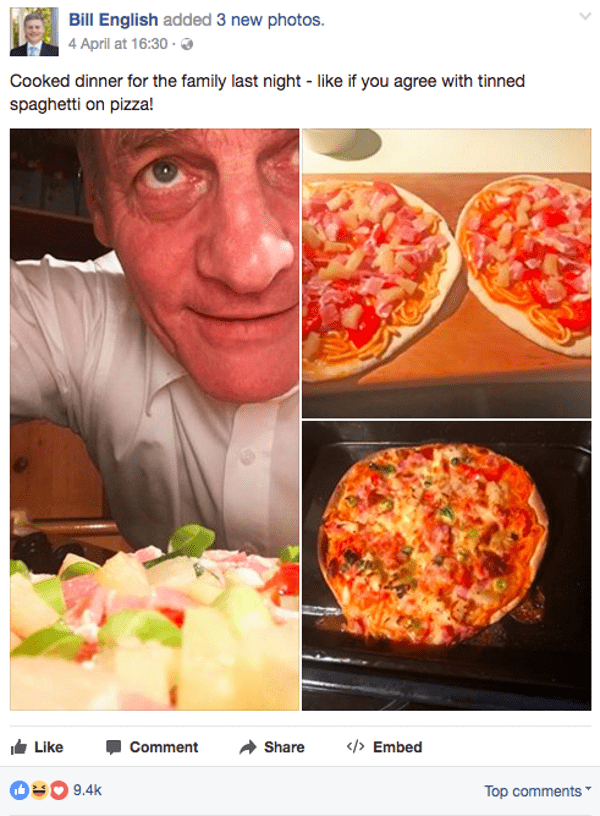 New Zealand prime minister Bill English- and his pizza