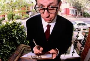 Man holding clipboard on the doorstep.
