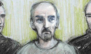 A sketch of Thomas Mair at Westminster magistrates court.