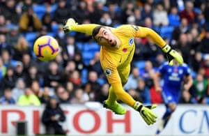 Brighton's Mathew Ryan in action against Cardiff City at The Cardiff City Stadium. City won the game 2-1, their second win of the season.