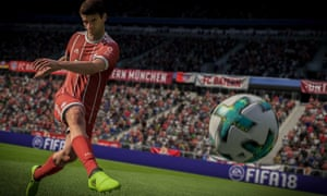 a still from the video game fifa 18 in which a player kicks the ball