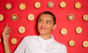 Ruby Tandoh surrounded by mince pies.