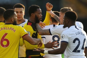 Handbags alert! Nathaniel Chalobah of Watford pushed by Spurs' Toby Alderweireld.