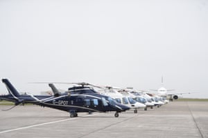 Helicopters parked on the runway at Newquay airport, Cornwall, today for use by VIPs attending the G7 summit.