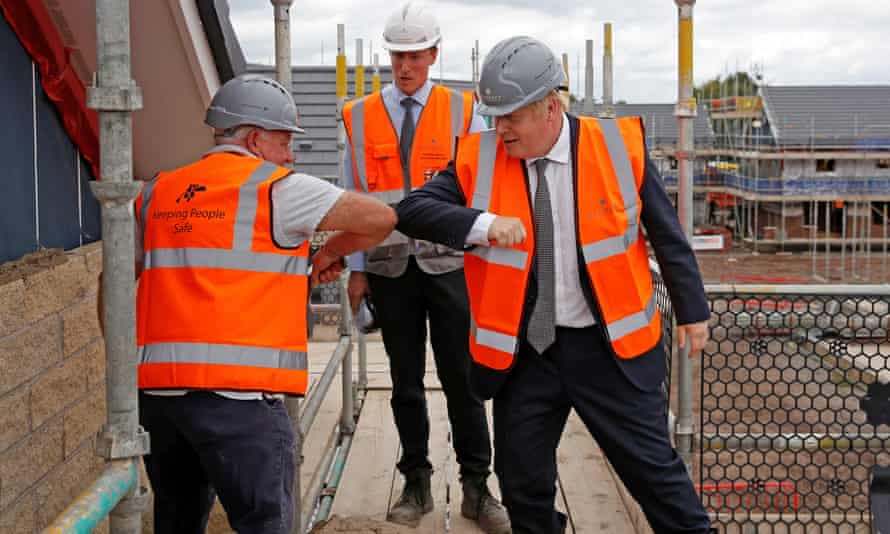 Boris Johnson at a construction site in Cheshire on 6 August.