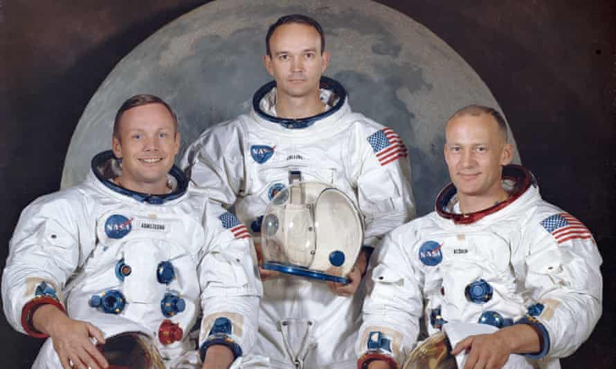 Buzz Aldrin, right, with Neil Armstrong, left and Michael Collins. Apollo 11 was the first manned mission to the surface of the moon.