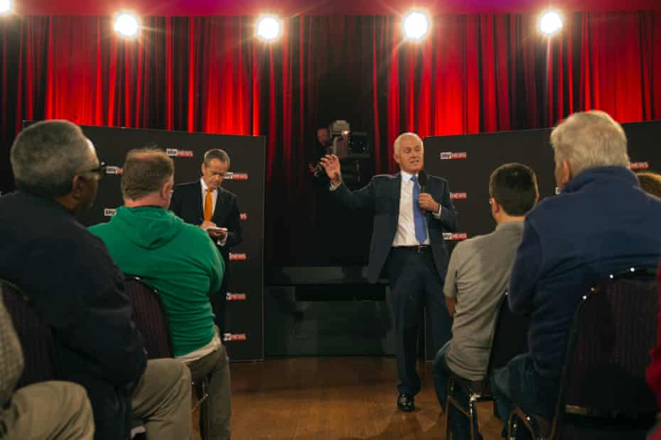 Malcolm Turnbull and Bill Shorten at the first debate of the 2016 election at the Windsor RSL in western Sydney on Friday