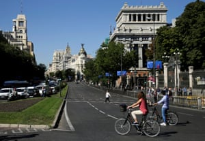 Cyclists on Calle de Alcalá, Madrid's longest street, which was made free of cars on one side as part of European Mobility Week