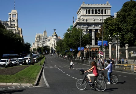 People on bicycles in Madrid