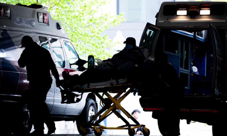 Ambulance arrivals at the George Washington University Hospital in Washington, DC