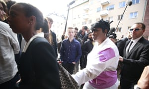 Renee Black (second right), A$AP Rocky's mother, arrives at the district court in Stockholm on Tuesday