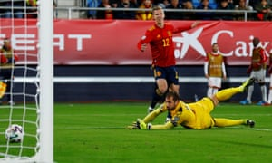 Dani Olmo scores for Spain on his full international debut.