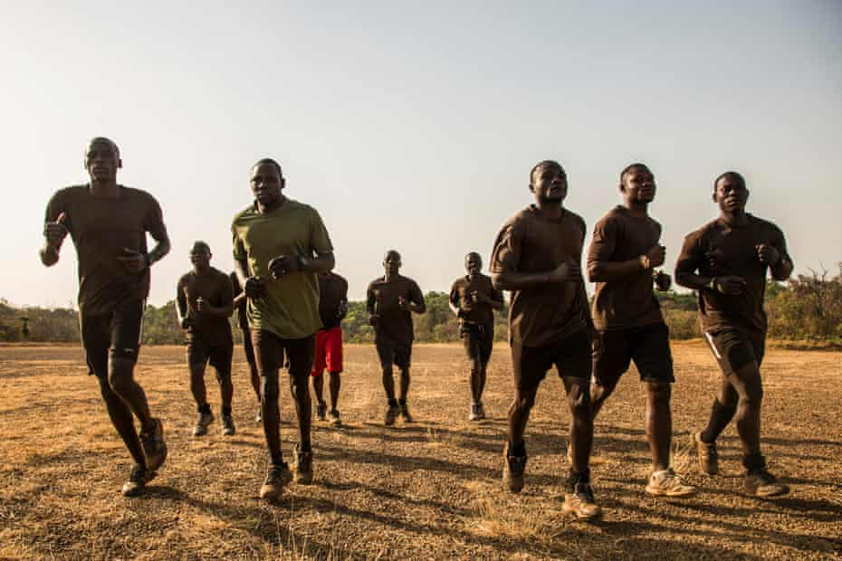 Rangers go on a morning jog down the main airstrip.