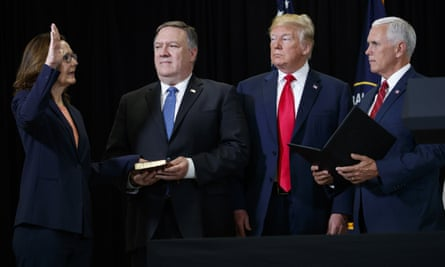 Mike Pompeo, second from left, at the swearing-in of Gina Haspel as the new CIA director on Monday. Trump and Mike Pence look on.