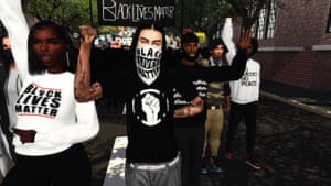 A picture from the Black Lives Matter Sims rally tweeted by Ebonix in gratitude to those who took part.