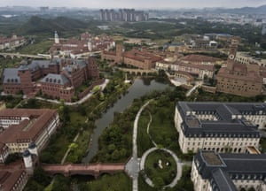 Huawei's new sprawling Ox Horn research and development campus is seen from the air in Dongguan