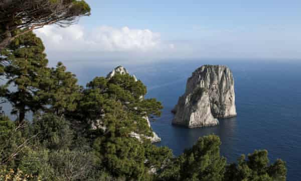 The Faraglioni rocks off Capri, where the seabed has been devastated by the illegal collection of date mussels.