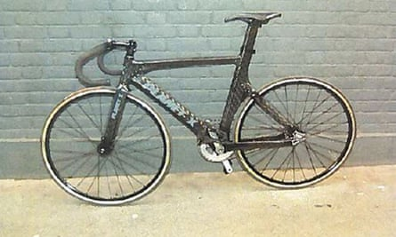 The fixed-wheel track bicycle that was allegedly ridden by Charlie Alliston when he collided with Kim Briggs.