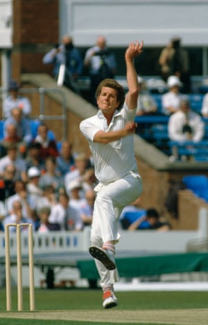 Bob Willis bowling for England during the 1st Texaco Trophy One Day International between England and West Indies at Old Trafford, Manchester, 31st May 1984.