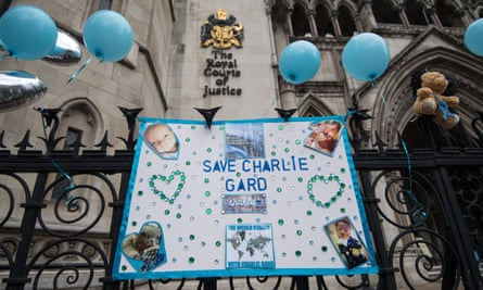 A banner hung outside the high court in London in support of Charlie Gard