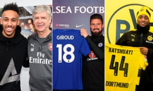 Pierre-Emerick Aubameyang has signed for Arsenal, Olivier Giroud has gone to Chelsea and Michy Batshuayi has been loaned to Dortmund.