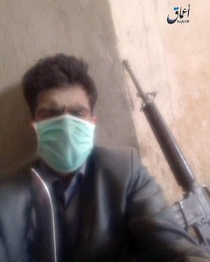 An unverified photo released by Isis purporting to show one of the Kabul hospital attackers
