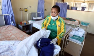 A worker at a South African hospital.