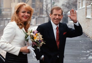 Czech President Vaclav Havel with Dagmar Veskrnova following their private wedding ceremony in Prague, 1997.