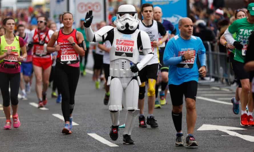 A stormtrooper running in the London Marathon