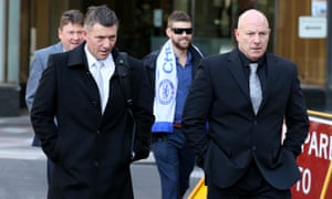 Channel Seven journalist David Richardson, left, and Seven security guard Scott Mcllveena leave the inquest on Tuesday.