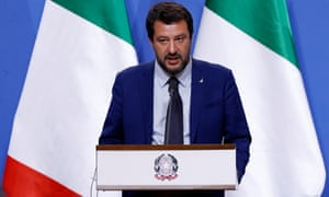 Italian Interior Minister Matteo Salvini during a press conference in Hungary