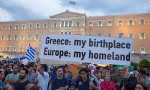 A pro-EU rally in front of the parliament building in Athens.