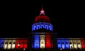 San Francisco city hall is lit up with blue, white and red, the colours of the French flag, following the Paris terror attacks