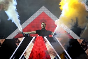 Calvin Harris performs at the T in the Park festival in Perthshire, Scotland, in July.