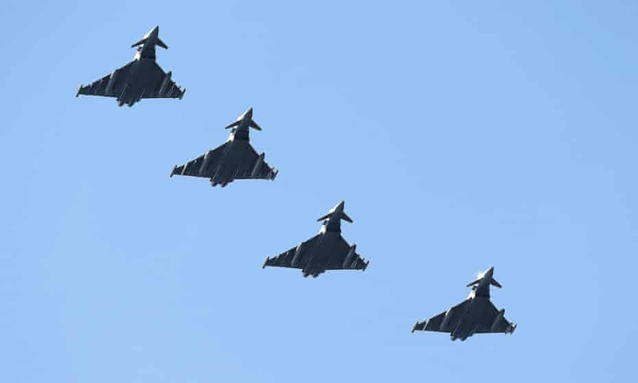 Four Royal Air Force British Eurofighter Typhoons