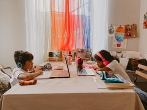 Noah and Mehliah Segura in their at-home classroom.
