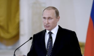 Vladimir Putin delivers a speech during a ceremony at the Kremlin for soldiers returning from Syria.