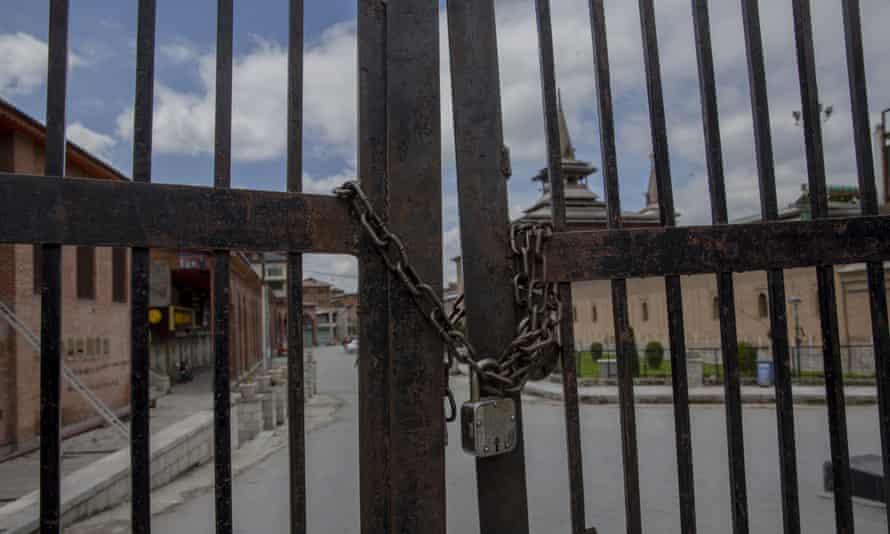 A locked gate at Jamia Masjid in Srinagar