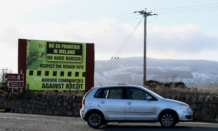 A sign, erected by Border Communities Against Brexit, outside Newry, County Down.