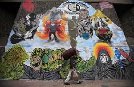 Graffiti denounces the interior ministry and the Egyptian uprising along Mohamed Mahmoud street near Tahrir Square.