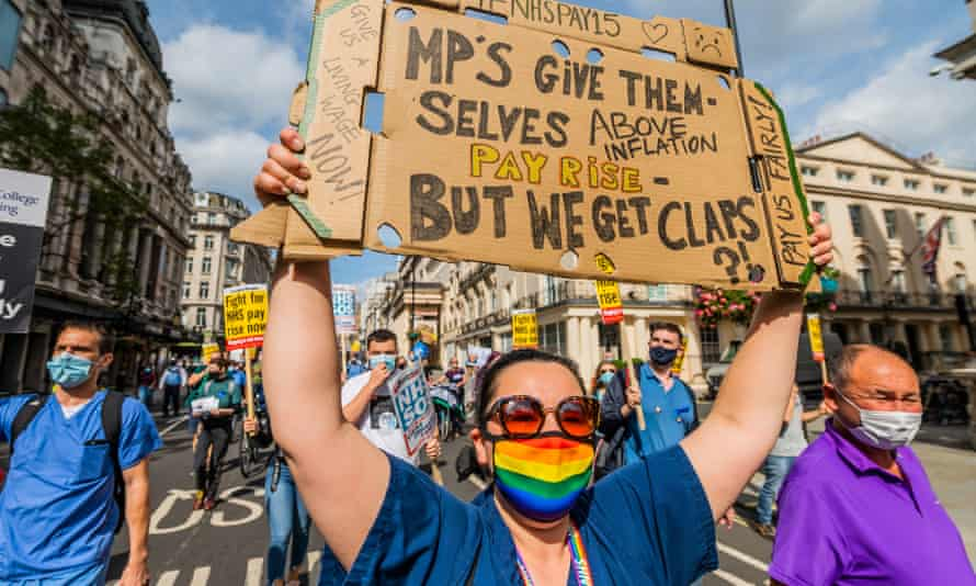 NHS workers marching in support of a pay rise in London, in September last year.