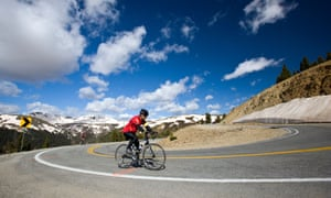 Cyclists riding up Independence Pass in Colorado during the annual Ride The Rockies bicycle tour