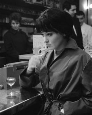 Karina in a bar in Paris in 1960.