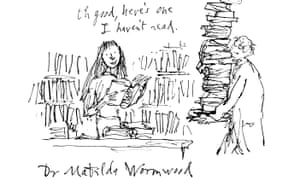 Matilda at the British Library, as drawn by Quentin Blake