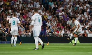 Real Madrid's Marco Asensio lets fly from 35+ yards out and the ball zips into the net to give the home side the lead.