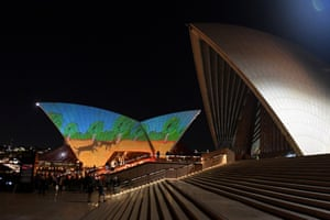 First Nations images are projected onto the sails of the Sydney Opera House during the the launch of Badu Gili: Wonder Women, Sydney, Thursday, April 22, 2021. The six-minute animation of artworks from the Gallery's collection will appear hourlyeach night from sunset on the eastern Bennelong sails, enabled by the NSW Government's Culture Up Late initiative. (AAP Image/Mick Tsikas) NO ARCHIVING