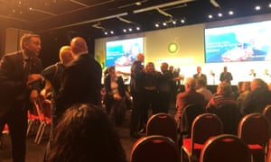 """Protesters disrupt oil and gas giant BP's annual general meeting of shareholders, shouting """"this is a crime scene"""", in Aberdeen, Scotland, Britain May 21, 2019."""
